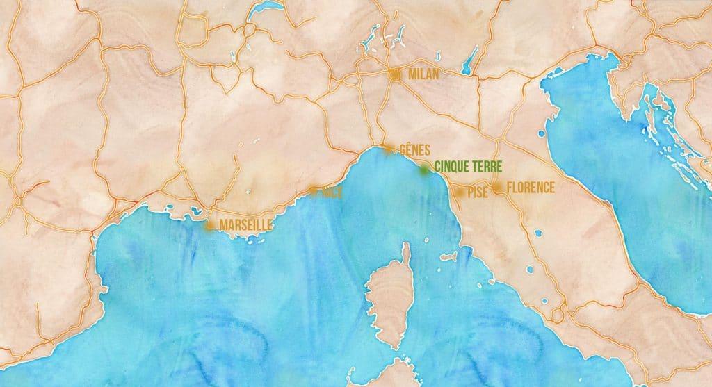Carte des villes en France et en Italie autour des Cinque Terre -  © Visiter les Cinque Terre