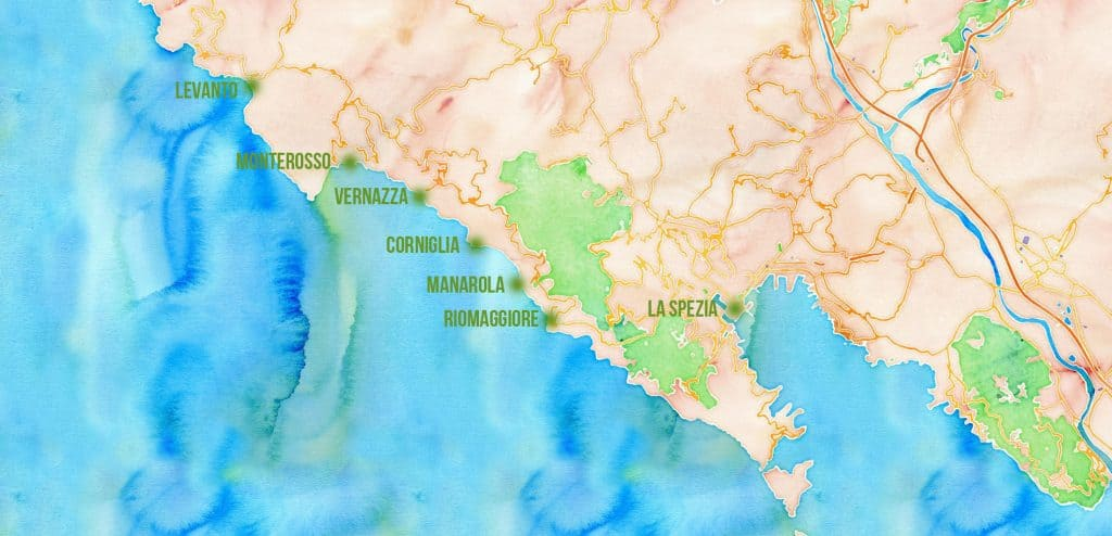 Carte des Cinque Terre en Italie
