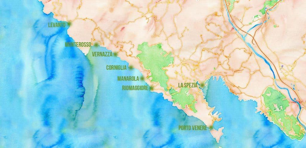 Carte villes et villages à proximité des Cinque Terre -  © Visiter les Cinque Terre